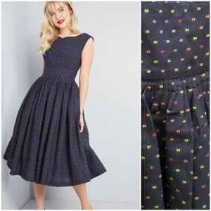 Fabulous Fit and Flare dress, navy multi